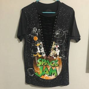 Space Jam lace-up oversized tee